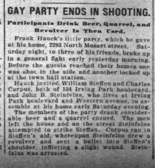 Frank Hauck party story - The Inter Ocean (Chicago, Illinois) - 29 Aug 1904 -