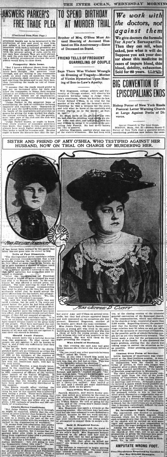 O'Shea Trial 26 Oct 1904 -