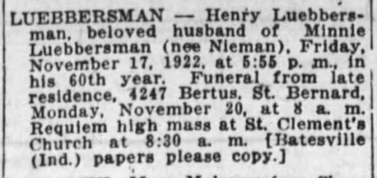 Henry G Luebbersman 19 Nov 1922 -