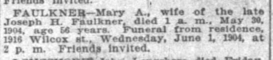 Mary A Faulkner death announcement 30 May 1904 p8 -