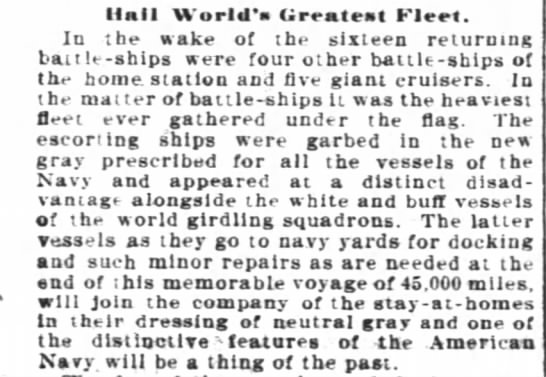 Return of the Great White Fleet to Hampton Roads - Hall World's Greatest Fleet. In tbe make of the...
