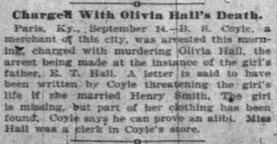Indianapolis News 14 September 1895 - o r - - ChargrrH With Olivia Hall's Death....