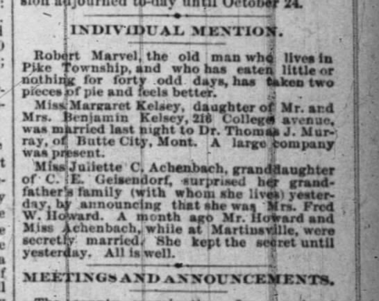 Individual Mention - Robert Marvel - Indianapolis News Thursday July 25, 1889 -