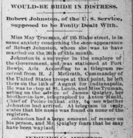 James Quigley bil to May Truman 26 Aug 1889  indy news -
