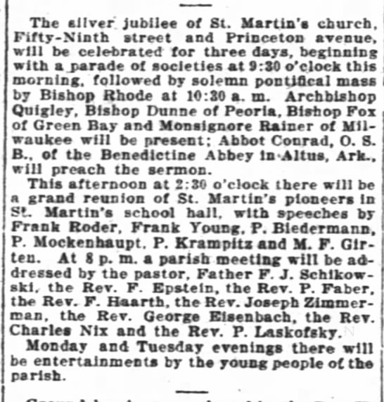 Paul at reunion for St Martin'sfrom interocean news 16 july 1911 -