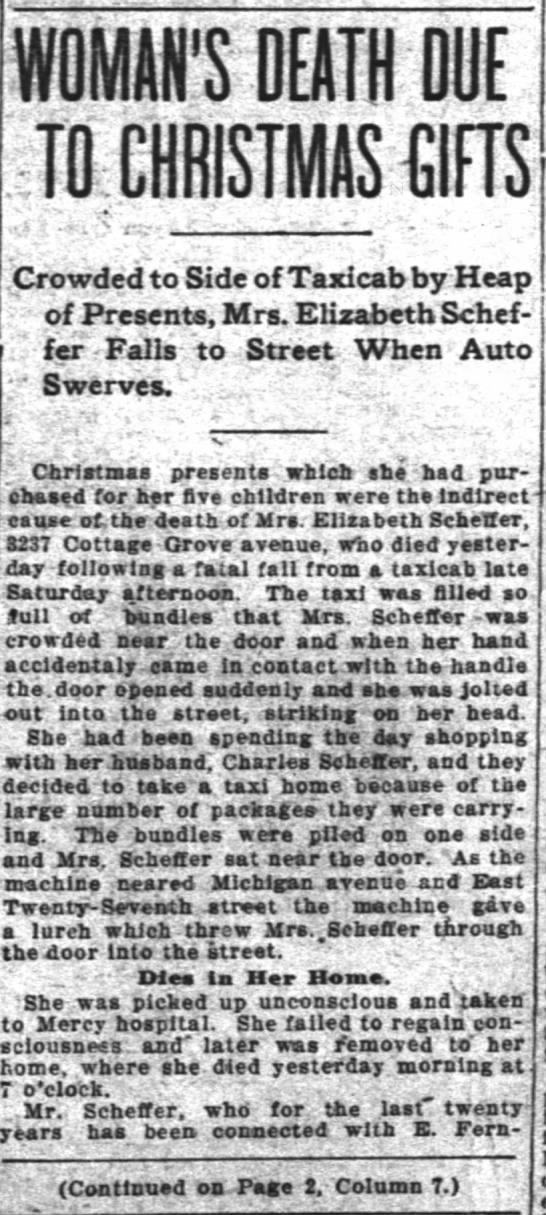 Elizabeth Cooper Scheffertaxi accident -