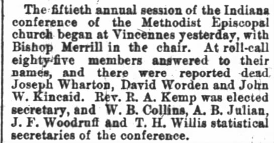 15th Annual INDIANA Conference of Methodist @ Vincennes (Sep 1881) - The fiftieth annual session of the Indiana...