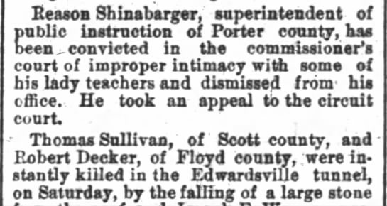 Clipped from - THE INDIANAPOLIS NEWS - 17 Oct. 1881 -