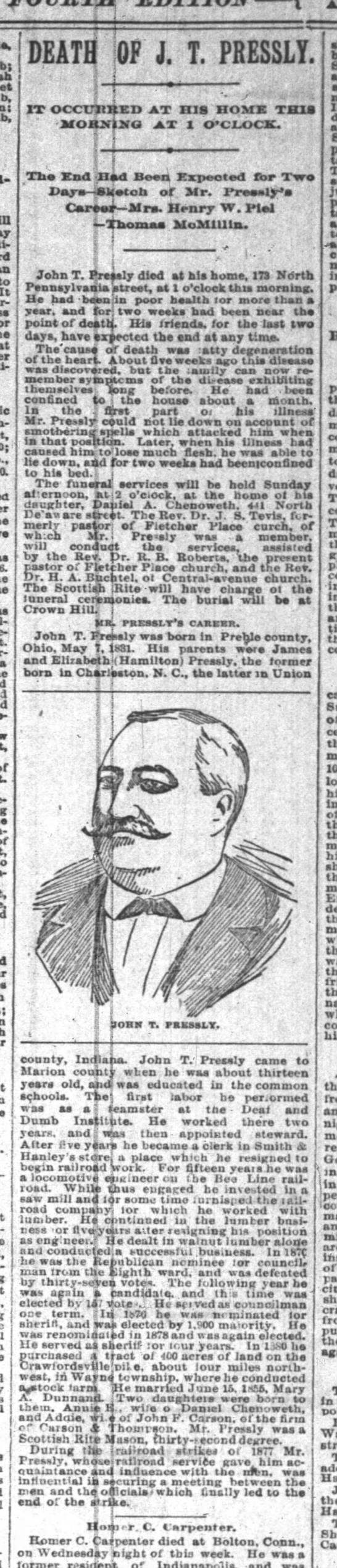 27 April 1894 Death of JT Pressly Indianapolis News -