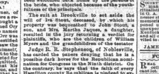 Ira Stout will judgement Ind News 24 May 1894 P2 -