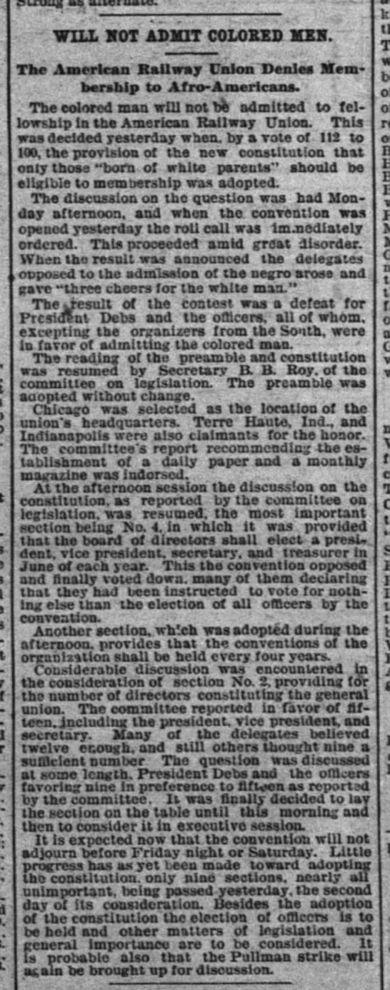 ARU Convention News: Will Not Admit Colored Men (events of June 19, 1894) -