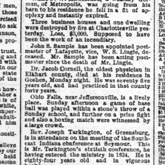 obit dr jacob cornell  17 sept 1884 p3 the indianapolis news -