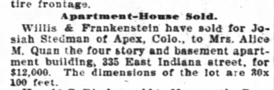Josiah Stedman Apex colorado sold apartment bld in Chicago The Inter Ocean Chicago Il 8 Feb 1908 -