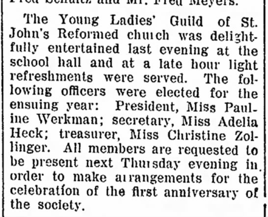 Adelia Heck treasurer - office a The Young Ladies' Guild of St. John's...