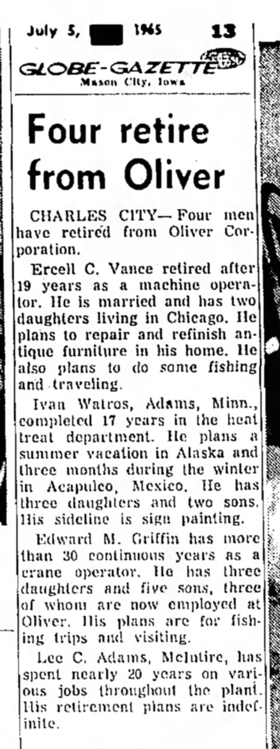 Four Retire from Oliver