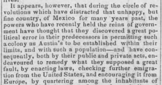 Government of Mexico enacts laws to prevent more US settlers from emigrating to Texas -
