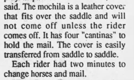The Mochila held the mail for Pony Express riders -