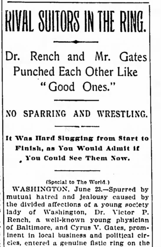 Victor P. Rench, well known young physician fights Cyrus V. Gates over young woman -