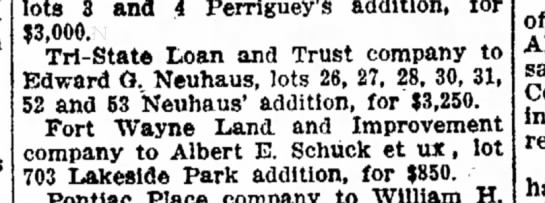 Tri-State Loan sells lots to Edward G Neuhaus - good 3 and 4 Perriguey's addition, for $3,000....