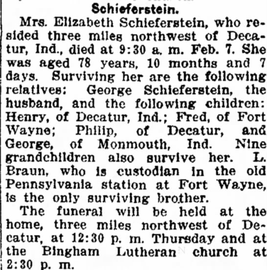 Ft. Wayne News - 6 Feb. 1916 - indicating by appealing Schieferstein. Mrs....