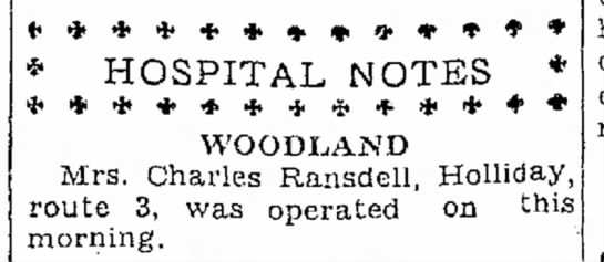 Ethel Ransdell has operation -