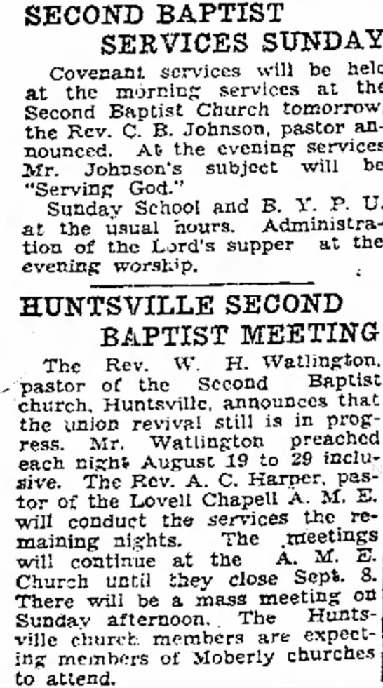 Second Baptist (August 31 1935) -