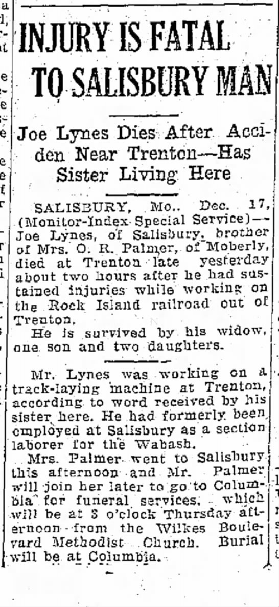 Joseph Allen Lynes newspaper death notice -