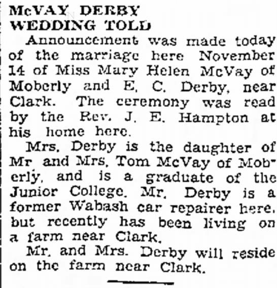 Derby McVay M. Moberly MO 28 Nov 1934 -