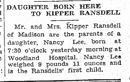 Nancy Ransdell birth announcement -