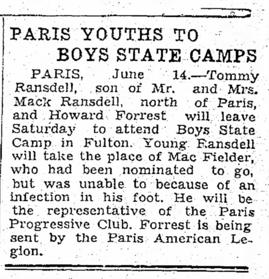 Mack Ransdell's son attends Boys State Camp -