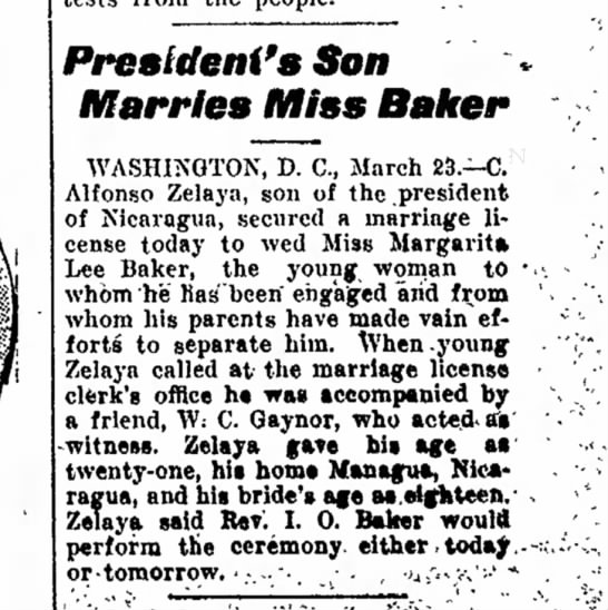 - President's Son Marries Miss Baker WASHINGTON,...