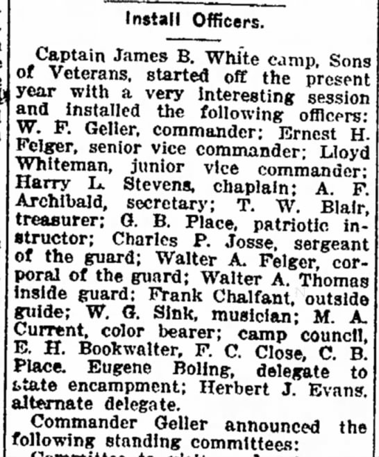1917 Jan 16 Ft Wayne News Whiteman, Lloyd Vice Commander -