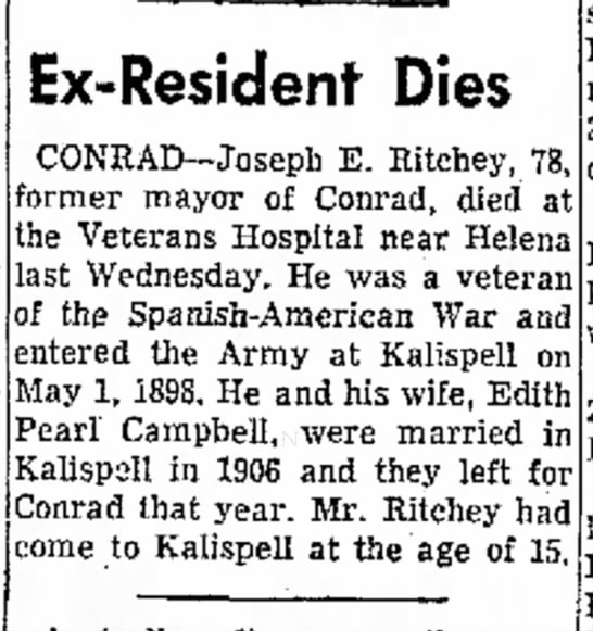 Joseph E. Ritchey death notice The Daily Inter Lake, Kalispell, MT May 6, 1956 -