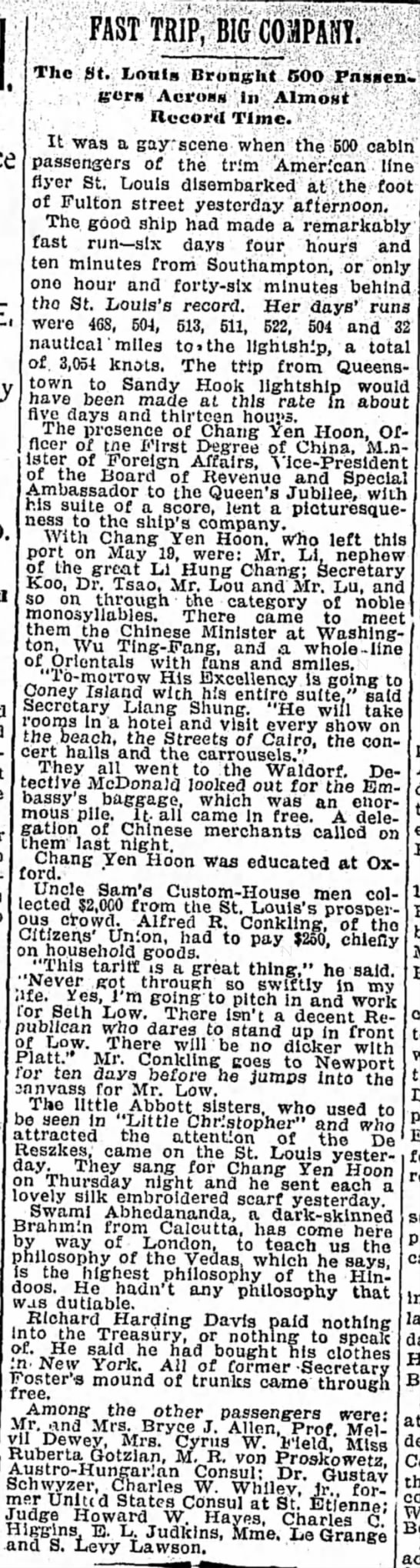 officer first degree of china to visit ci carousels 8--1897 -