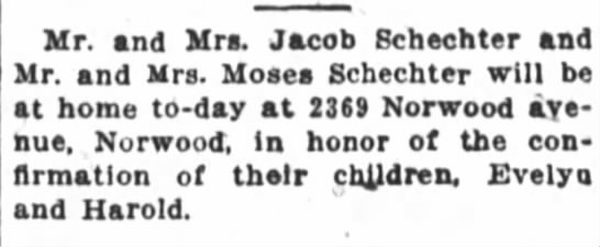 The Cincinnati Enquirer, June 12, 1921 - Mr. and Mrs. Jacob Schechter and Mr. and Mrs....
