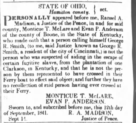 Cincinnati Enquirer 15 Sept 1841 Boone slave escape Clarkson and ferry mentioned -