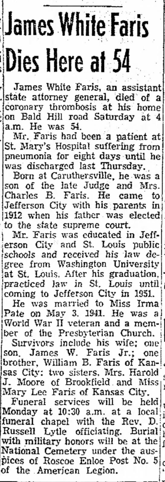James White Faris Dies Here at 54 (1958) -