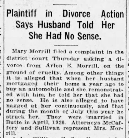 Mary vs. Arlen E. Morrill-divorce.-Aug. 1921 filed. -