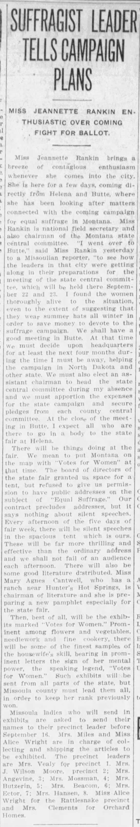 Jeannette Rankin Leads Suffrage Movement in Montana -