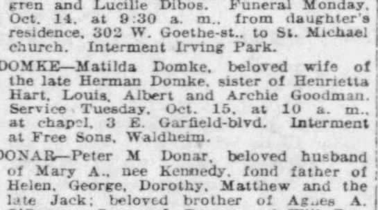 Matilda is buried with the rest of theGoodman Clan - Lind-pren and Lucille Dibos. Funeral Monday....