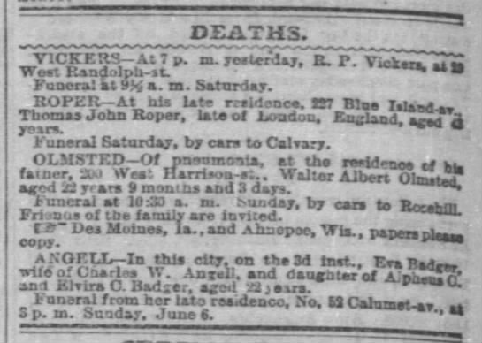 Death Notice of Thomas John ROPER (d bef 04 Jun 1875