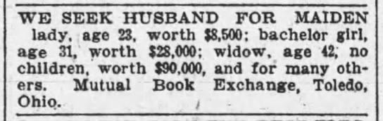 Marriage bureau ad, 1904 -