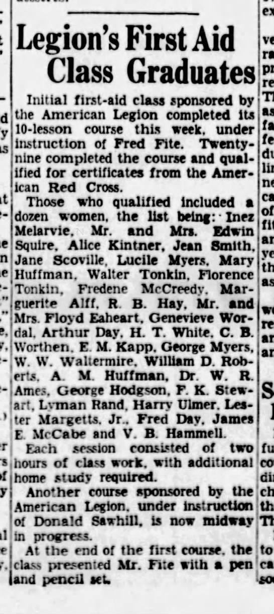 TONKIN,FlorenceAndWalt,1stAidGraduates,07Feb1942,newspaperTheMissoulian -