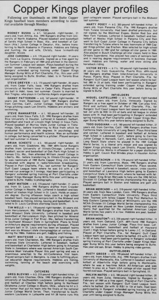 Butte Copper Kings - June 19, 1990 -