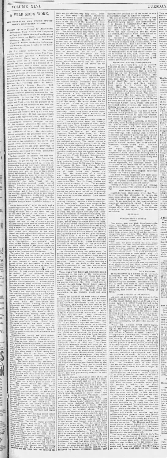 Chicago Tribune's dramatic account of the incident at the McCormick Harvesting Machine Company -