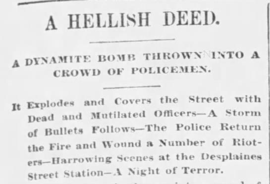 Headline about the Haymarket Riot -