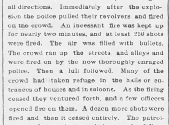 One account of what happened after the bomb explosion at Haymarket Square -