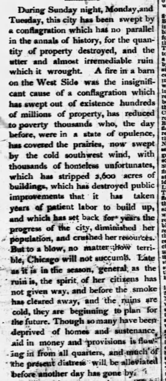 Excerpt from an editorial attesting to the resilience of Chicago residents following the 1871 fire -