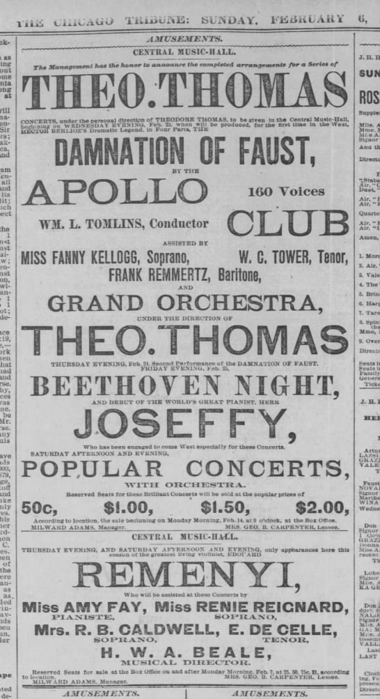 1881 Theodore Thomas and orchestra pre CSO at Central Music Hall M