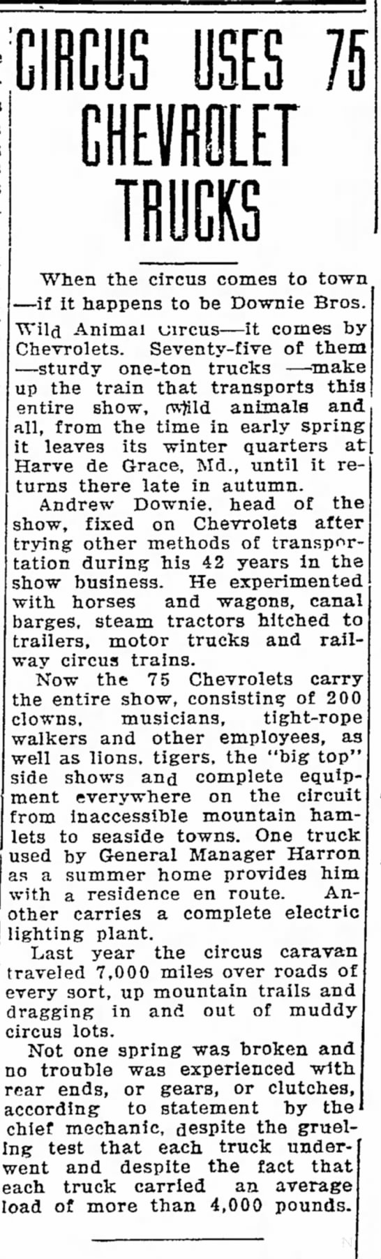 Downie Chevy Article 10-9-1927 -